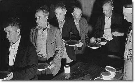 Soup kitchen during Great Depression of the 1930's