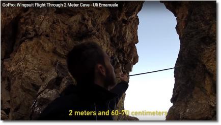 Wingsuit flyer Uli Emanuele threads the needle (July 2015)