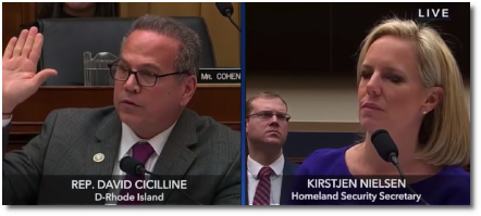 Homeland Security Secretary  Kirstjen Nielsen's congressional testimony with Rep. David Cicilline of Rhode Island (20 Dec 2018).
