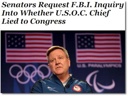 Senators request FBI inquiry into former US Olympic Committee chief Scott Blackmun (14 Dec 2018)