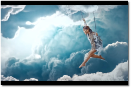 Ariana swinging barefoot in the clouds in 'breathin' (7 Nov 2018)