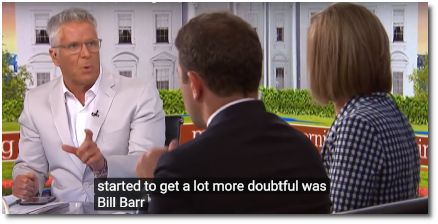 Donny Deutsche expresses concern (at t=8:20) that the institution of the Justice dept is NOT HOLDING because of things BILL BARR has said and done (19 July 2019)
