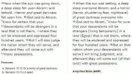 Genesis 15 verses 12 to 14, God tells Abrahm that his descendants will be enslaved and oppressed for 400 years.