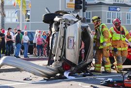 Car accident Pacific Coast Hwy PCH Newport Beach Jan 15, 2011