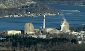 Indian Point Nuclear Plant on the Hudson River in NY