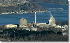 Indian Point Nuclear Power Plant on the Hudson River in New York