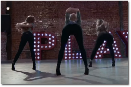 Choreography to God is a Woman featuring Kayla Brenda dancers bent over the bed with both arms bound securely together behind their backs (23 Oct 2019)