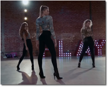 Kayla Brenda dancers strike a pose at the end of their choreography to God is a Woman (23 Oct 2019)