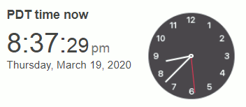 Timestamp taken when current page posted live: 8:37 pm Thursday (19 March 2020)