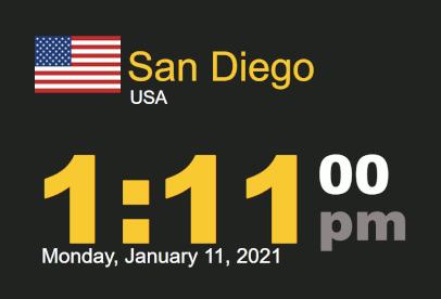 Time-n-date timestamp Worldclock San Diego Monday, 11 Jan 2021 at 1:11 pm