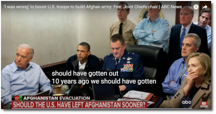 Fmr Joint Chiefs chair Adm Mike Mullen tells Martha Raddatz that he was wrong to boost troop levels in Afghanistan, and that we should've gotten the fuck out of there 10 years ago. This Week ABC News (22 Aug 2021)