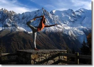 Yoga pose in the mountains