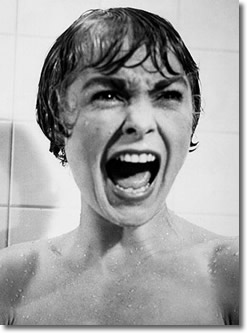 The famous shower scene in Hitchcock's Psycho
