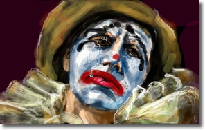 Image result for sad clown face