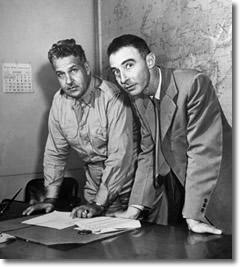 General Leslie Groves & Dr. J Robert Oppenheimer working on the Manhattan Project