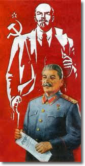 Josef Stalin (1878-1953) below an image of Vladimir Lenin (1870-1924)