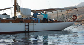 The Schnooner Escape, all wood, anchored in Catalina, built in 1933