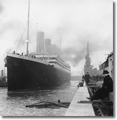 Titanic Leaves the Dock in Southhampton, UK April 10, 1912 on its maiden (and final) voyage enroute to NYC