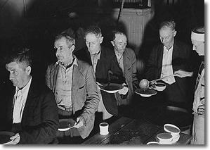Great Depression Soup Kitchen Line