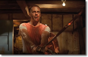 Bruce Willis wields a samurai sword in Tarantino's Pulp Fiction (1994)