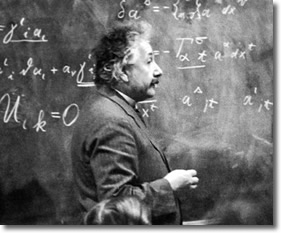 Einstein at Chalkboard at Princeton