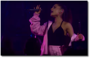 Ariana makes otherworldly sounds while singing Into You in New York City on May 19, 2016