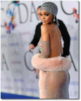 Rihanna wearing a Swarovski Crystal dress