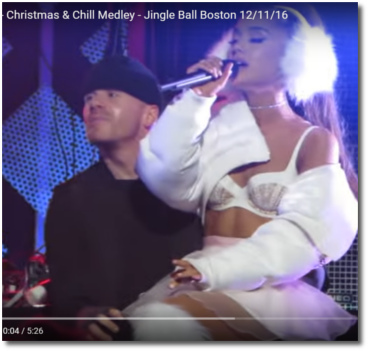 Ariana in white Christmas-n-Chill Boston Jingle Ball Dec 11, 2016