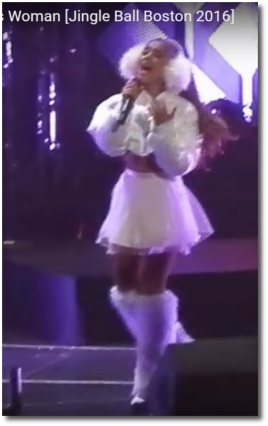 Ariana in white at the Jingle Ball Boston Dec 11, 2016