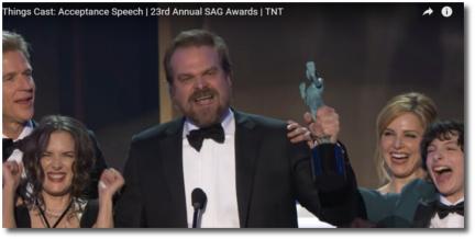 Stranger Things Cast SAG award acceptance speech Shrine auditorium Los Angeles Jan 29, 2017
