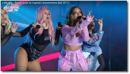 Little Mix singing Touch with fingers pointed Summertime Ball Wembley June 10, 2017