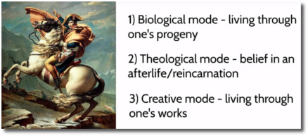 The 3 modes of symbolic immortality (t=3:20)