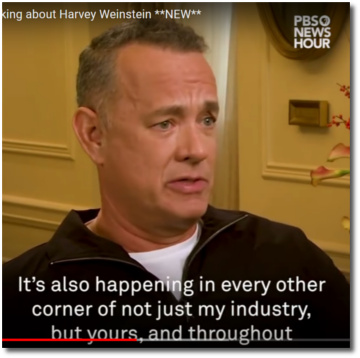 Tom Hanks talking about Harvey Weinstein and sexual harassment on PBS