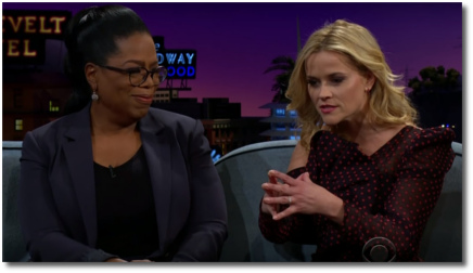 Reese doing Oprah with James and Mindy, 13 March 2018
