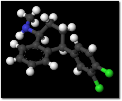 Ball-n-stick model of Zoloft (Sertraline)