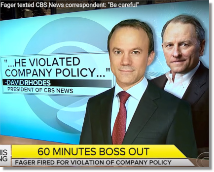 Jeff Fager fired by David Rhodes for threatening a correspondent investigating allegations against him (13 Sept 2018)