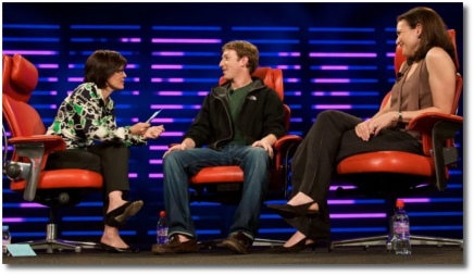 Kara Swisher, Mark Zuckerberg, Sheryl Sandberg at D6 conf in Carlsbad CA 2008